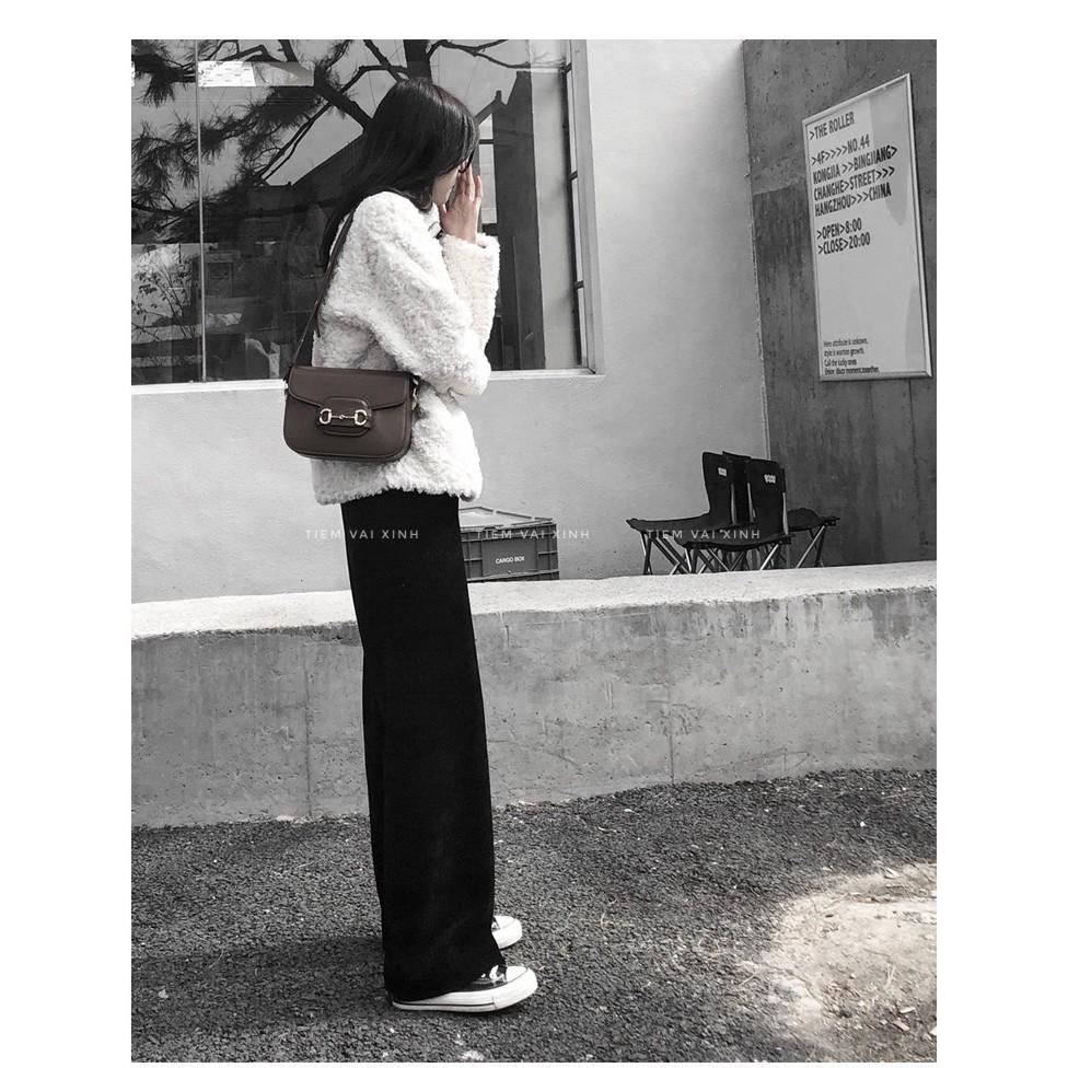 Quần Ống Rộng Nữ  [Tiệm Vải Xinh]  Quần Ống Rộng Nhung Tăm - Chất Liệu Nhung Tăm - Hàng Quảng Châu