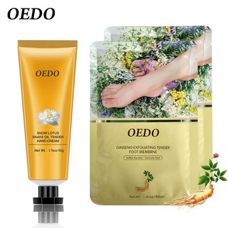 Kem bôi tay Hoa sen tuyết OEDO Làm trắng và nuôi dưỡng da+ 2 Màng Tẩy Tế Bào Chết Chân