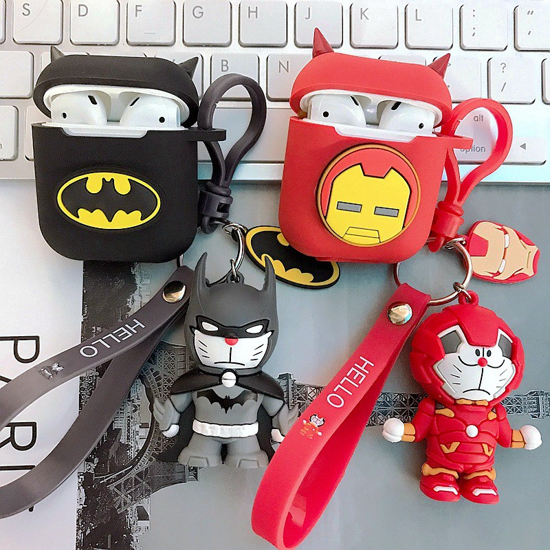 Case Airpods Doremon hóa trang Siêu Anh Hùng Marvel - Batman - Captain - iRon man - Thor  cho Airpod 1/2