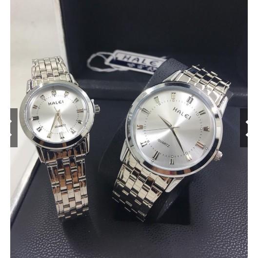 Đồng hồ nam nữ Halei 502 dây trắng đẹp không tì vết Đồng hồ kim-điện tử