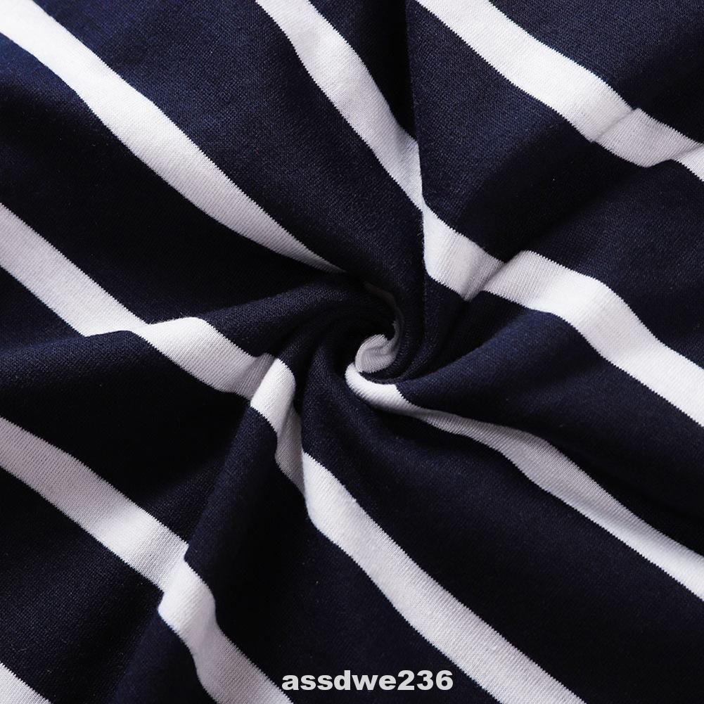 Crew Neck Fashion Long Sleeve Polyester Ruffle Striped Women T Shirt