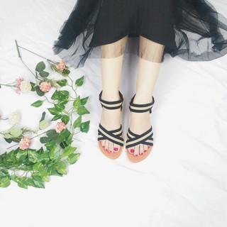 Giày sandal nữ đi học - FreeShip - Giày sandal nữ đi học quai hậu, đế nhựa PU cao 2p mang đi làm đi học đi chơi TBCheo01 thumbnail