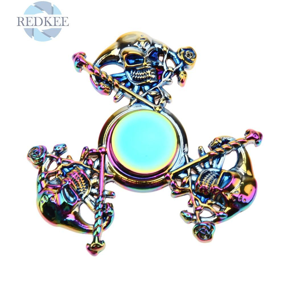 Redkee Fidget Spinner Skull Alloy Hand Spinner for Autism and ADHD Stress Relieve
