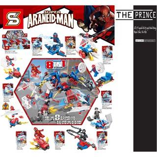 Bộ xếp hình 8 minifigures spiderman SY1120