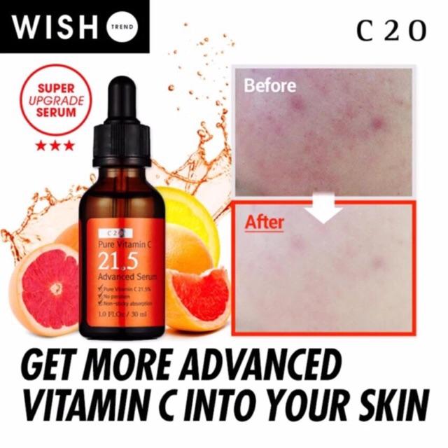 Serum trắng da trị mụn với 21,5 % vitamin C tinh khiết 30ml