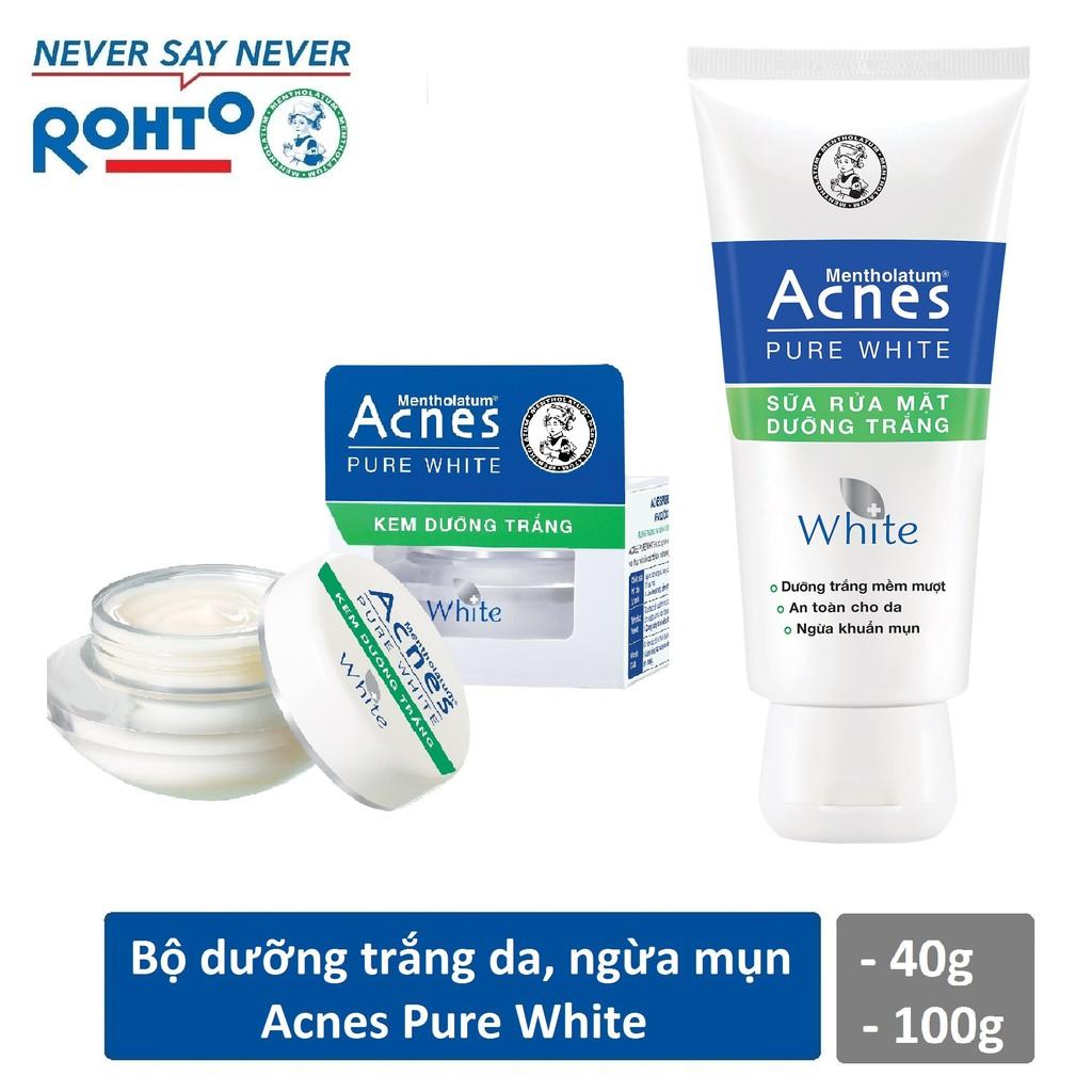 Bộ dưỡng trắng ngừa mụn Acnes Pure White (Kem rửa mặt Acnes PW 100g + Kem dưỡng trắng Acnes PW Cream