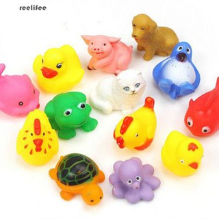 13Pcs Cute Soft Float Sqeeze Sound Animals Baby Kids Wash Bath Play Toys