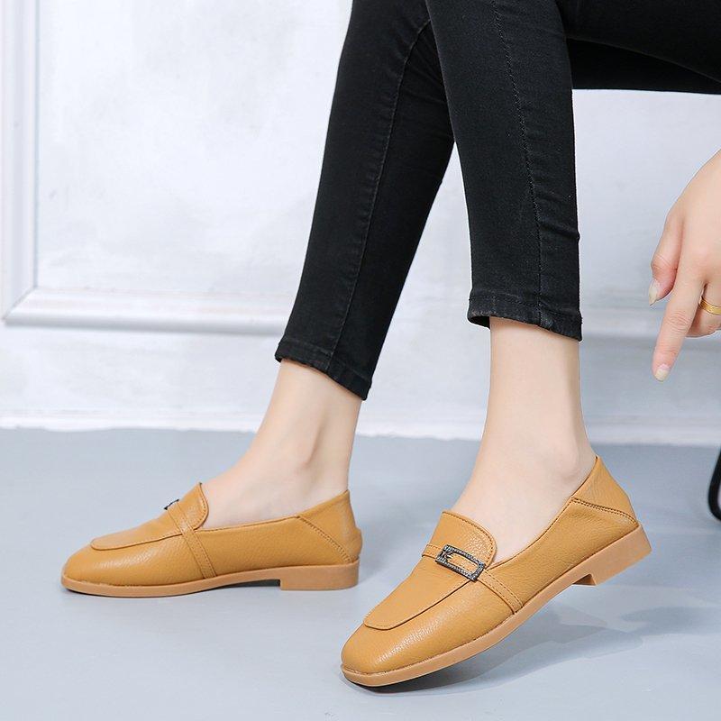 Giày Bệt Nữ, Giày Lười Thời Trang Thông Thường, Giày Đế Bằng (Mũi Vuông, Da)