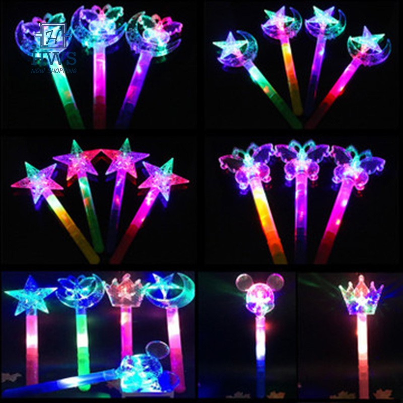 Gift for Girl Magic Fairy Children Shining Light-up Toy Colorful Stars Moon Butterfly Flash Stick