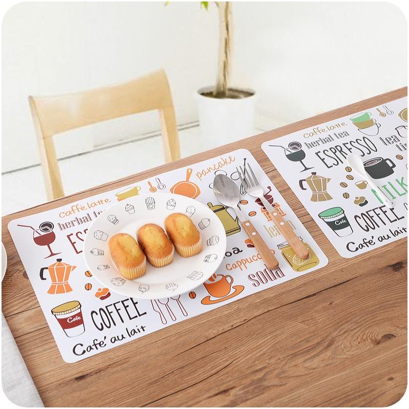 (𝗚𝗶𝗮́ 𝗦𝗶̉) tấm lót bàn ăn bằng nhựa - Miếng lót bàn ăn chống bẩn chống nước cách nhiệt chữ nhật (nhựa PVC)