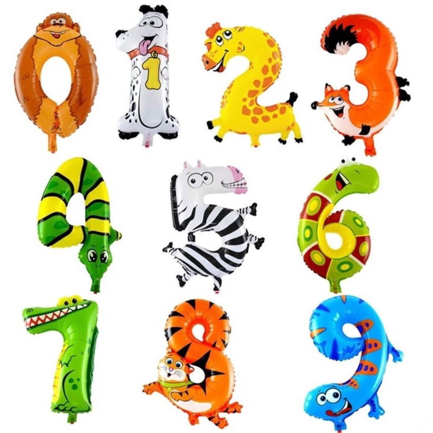 Cute Animal Number Foil Balloons Party Birthday Decor DIY