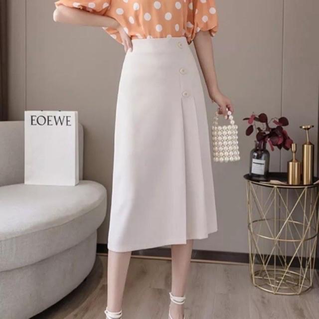 Chân Váy Midi, Chân Váy Công Sở Nữ Xếp Ly Phối Cúc Đủ Size, Màu Cơ Bản Dễ Phối Đồ