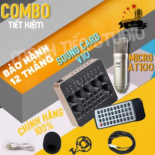 [COMBO CHUẨN] Bộ thu âm Livestream sound card V10 và micro AT100 KARAOKE CỰC HAY