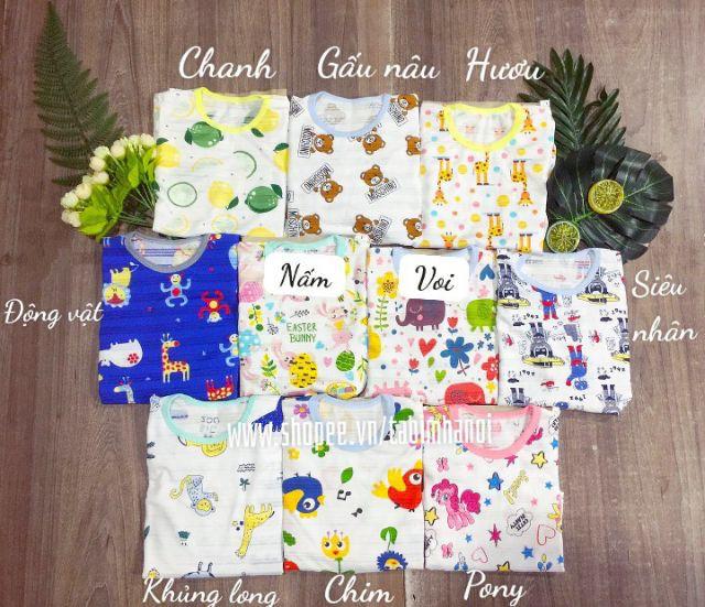Bộ dài tay chất giấy thái cho bé trai và bé gái , Bộ quần áo trẻ em QATE574 cho bé từ sơ sinh đến 18kg