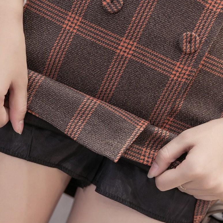 Chân Váy Ôm Kẻ Caro Phối Nút Thời Trang VAY5 - Váy Chữ A