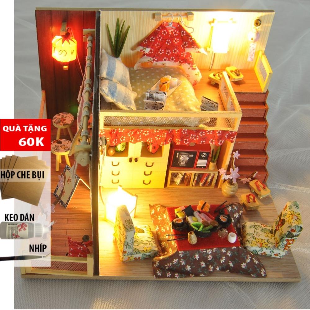 Mô hình NHÀ BÚP BÊ bằng gỗ có đèn led Sakura Story TYU D12 DochoiHCM