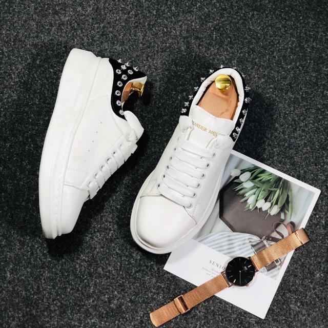 Giày thể thao nam Mcq nam gót Đinh da đen độn đế cao 3cm