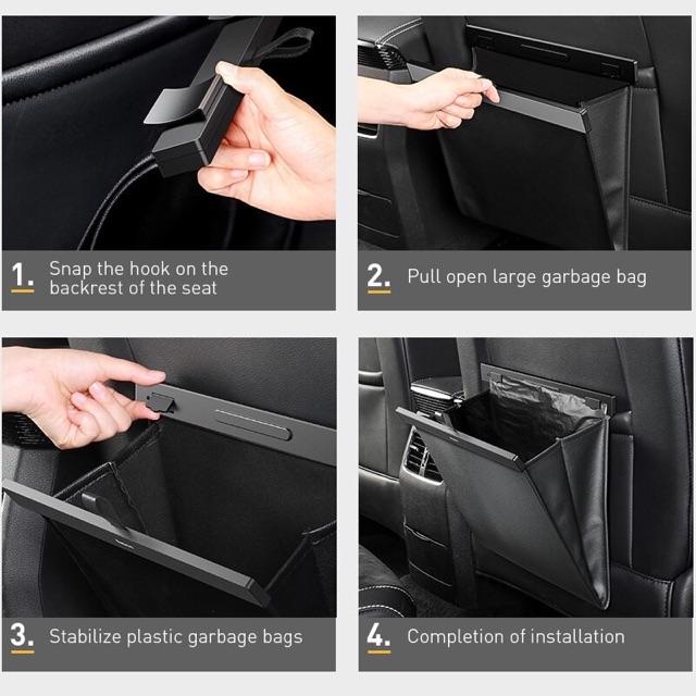 Baseus Large Garbage Bag- Túi đựng đồ vỏ da sang trọng, chống nước cho ghế sau xe hơi