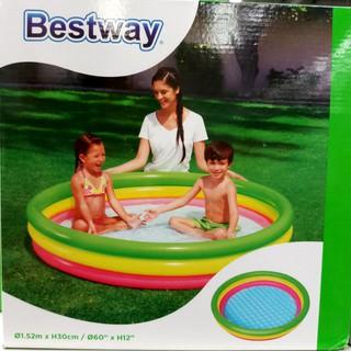 hồ bơi bể bơi phao cầu vồng 3 tầng 152x30cm đáy mềm Bestway 51103