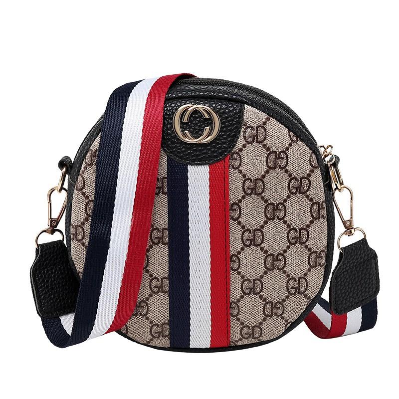 2019 Spring New Handbags Fashion Striped Small Round Sling Bag Shoulder Bag