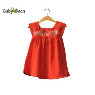 Đầm Đũi thêu Trái Cây xinh xắn bé gái BabyBean