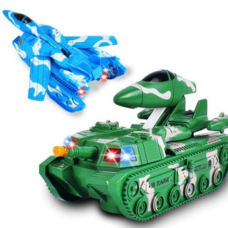 2pcs Cartoon Electric Transformative Tank with Flash and Sound Children