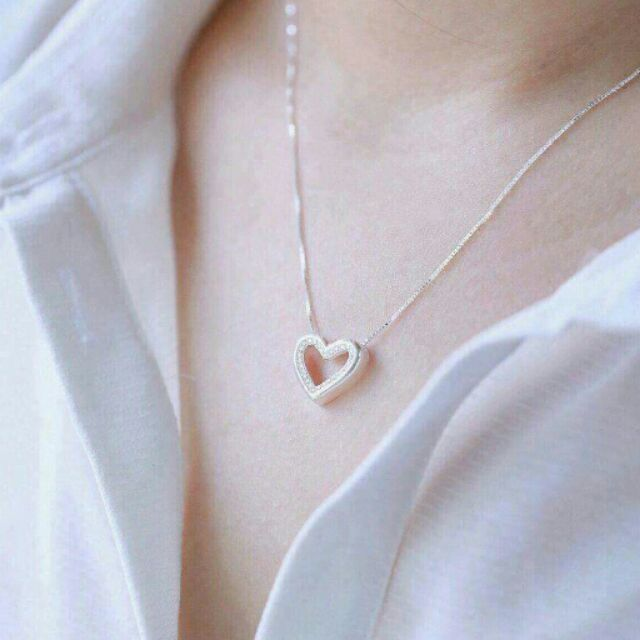 Dây chuyền bạc mặt trái tim dây chuyền bạc nữ dây chuyền bạc xinh vòng cổ nữ bằng bạc | Shopee Việt Nam