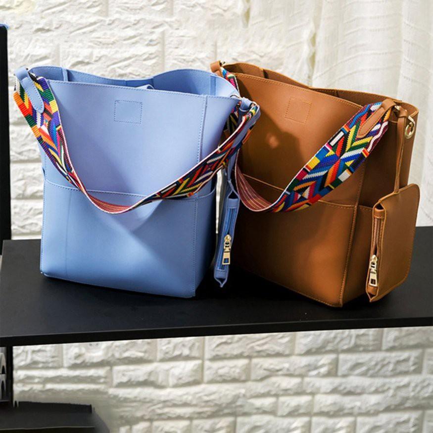 Túi bucket da dây đeo vai thiết kế hợp thời trang cho nữ