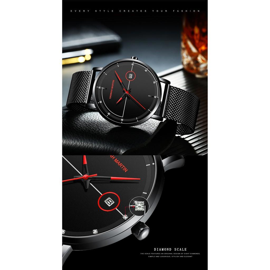 Đồng hồ nam chính hãng Hannah Martin HM-101 dây thép siêu mỏng đẹp máy Nhật cao cấp
