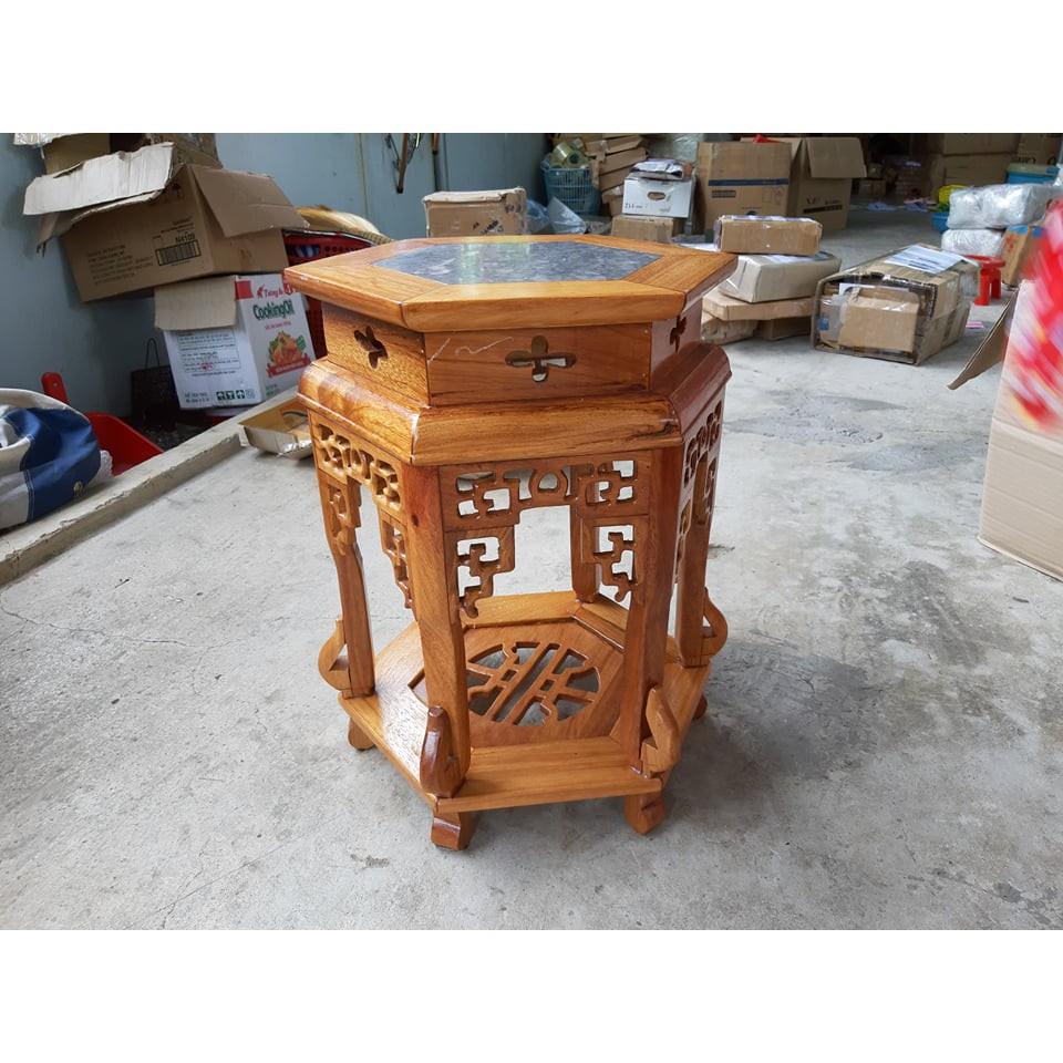 Đôn gỗ Hương mặt đá cao 50cm mặt 32cm