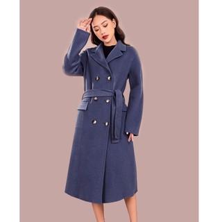 Áo măng tô dạ xanh lông cừu nắp túi Elise thumbnail