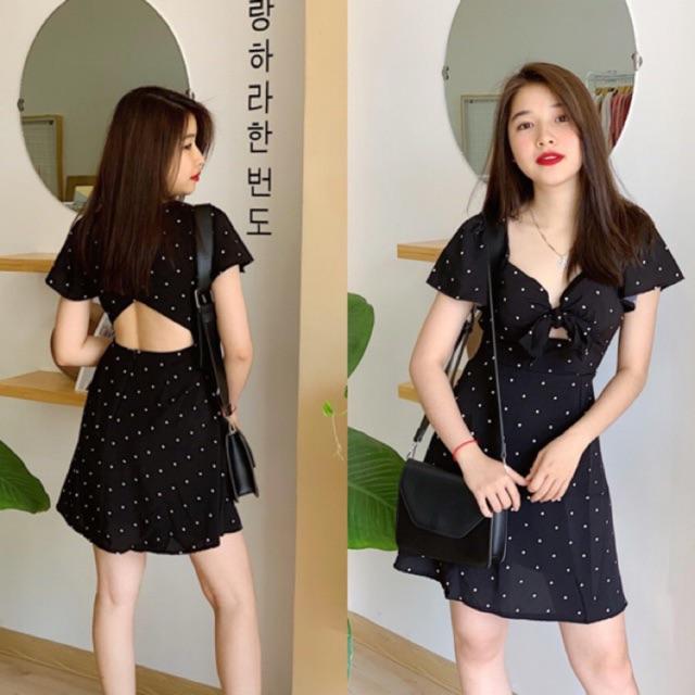 Đầm bi đen hở lưng cùng với Chie Dress