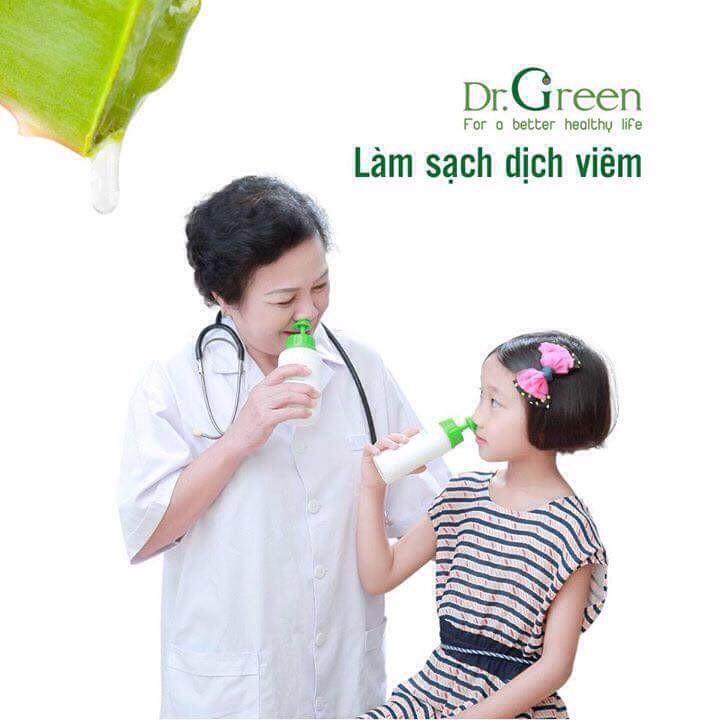 Bình Rửa Mũi Dr Green + 10gói Muối Lô Hội