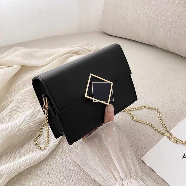[SALE CỰC SỐC] Túi xách nữ 🔥 FREESHIP 🔥 Túi xách nữ hộp khóa vuông đen phong cách hiện đại