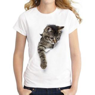 Ladies' Cat Printed Short Sleeve T-Shirt