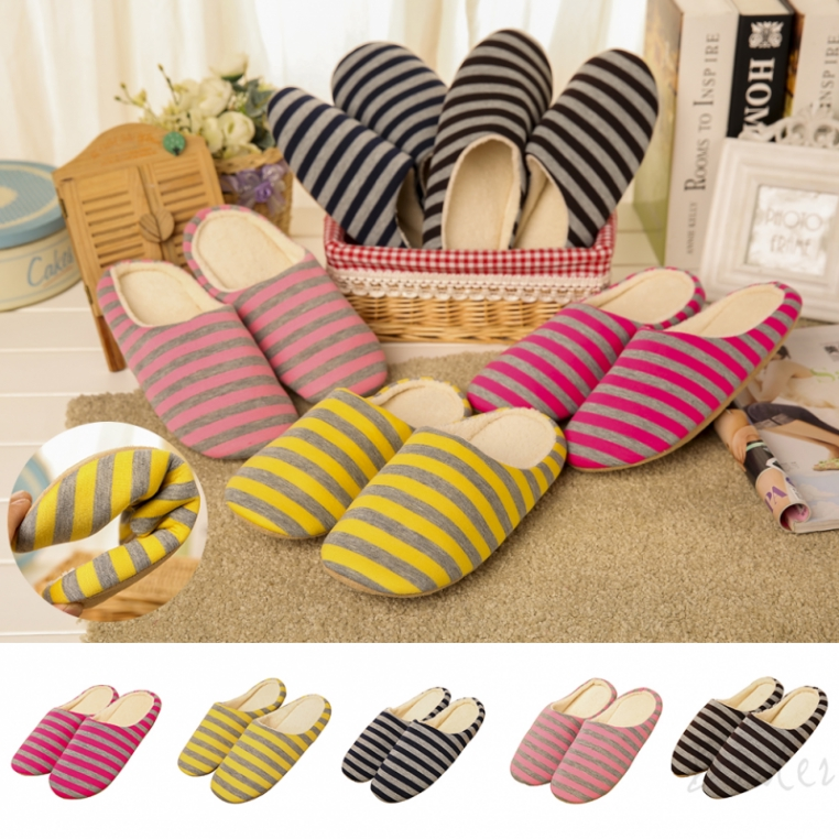 Bader Striped home half heel pack soft bottom mute cotton slippers indoor non-slip slippers
