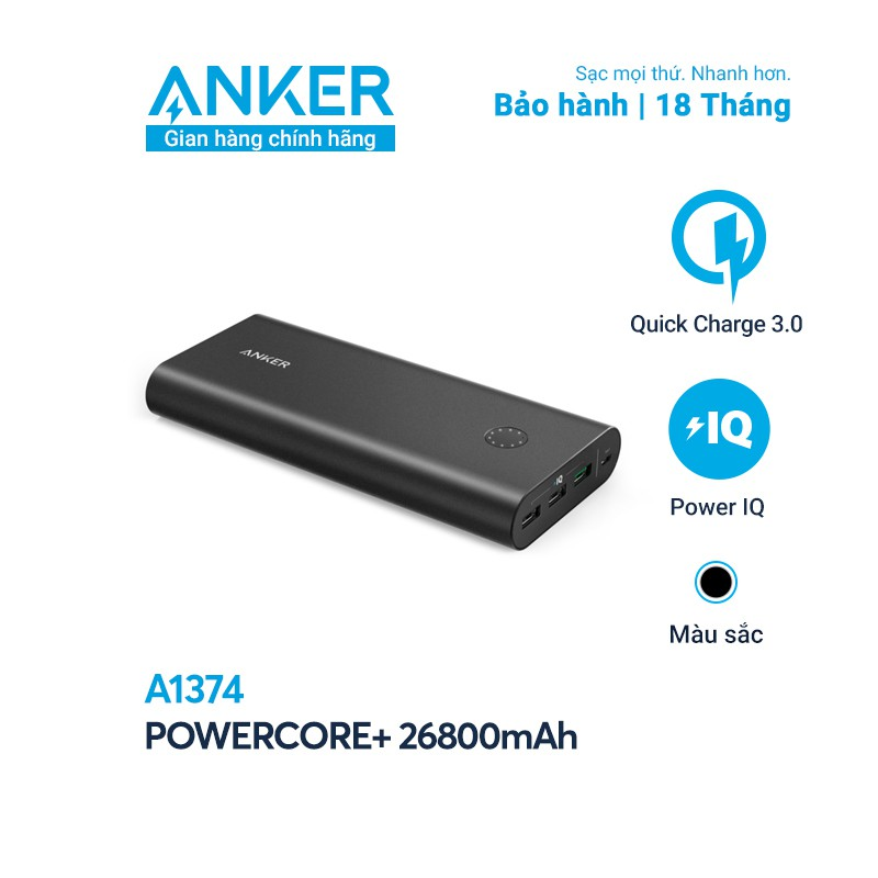 Pin sạc dự phòng ANKER PowerCore+ 26800mAh Quick Charge 3.0 - A1374