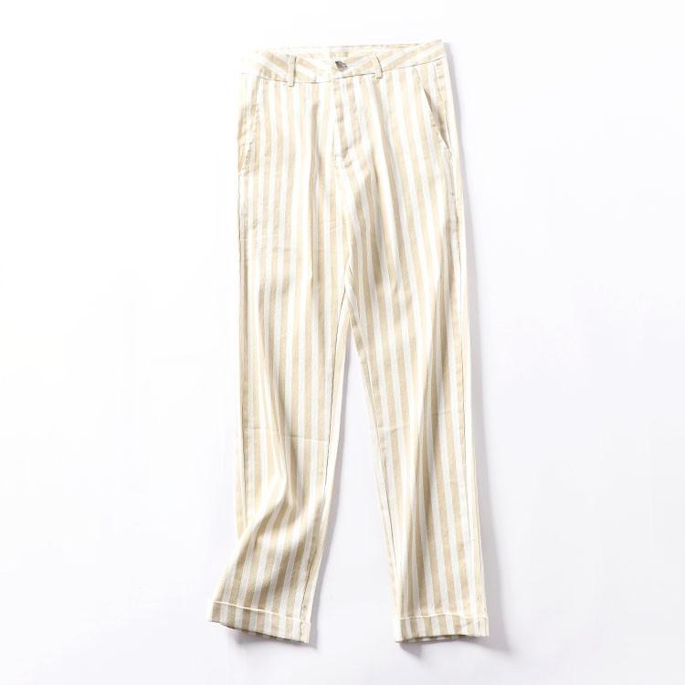 [Freezing Point] J@3 High Waist Thin Striped Wild Straight Pants Autumn Fashion
