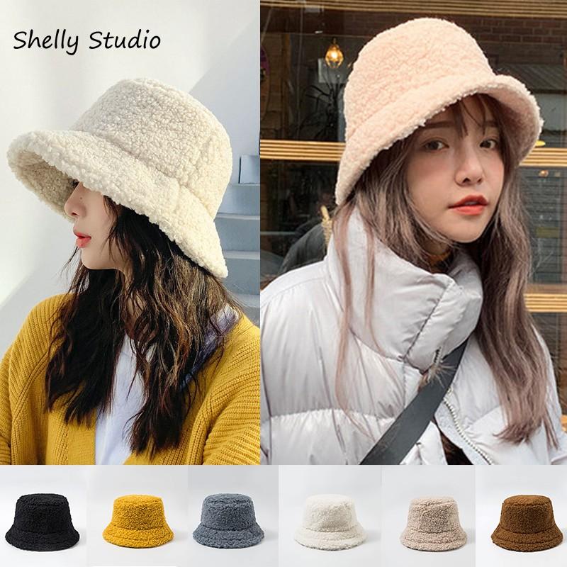 Nón bucket phối lông cừu giữ ấm mùa đông cho nữ