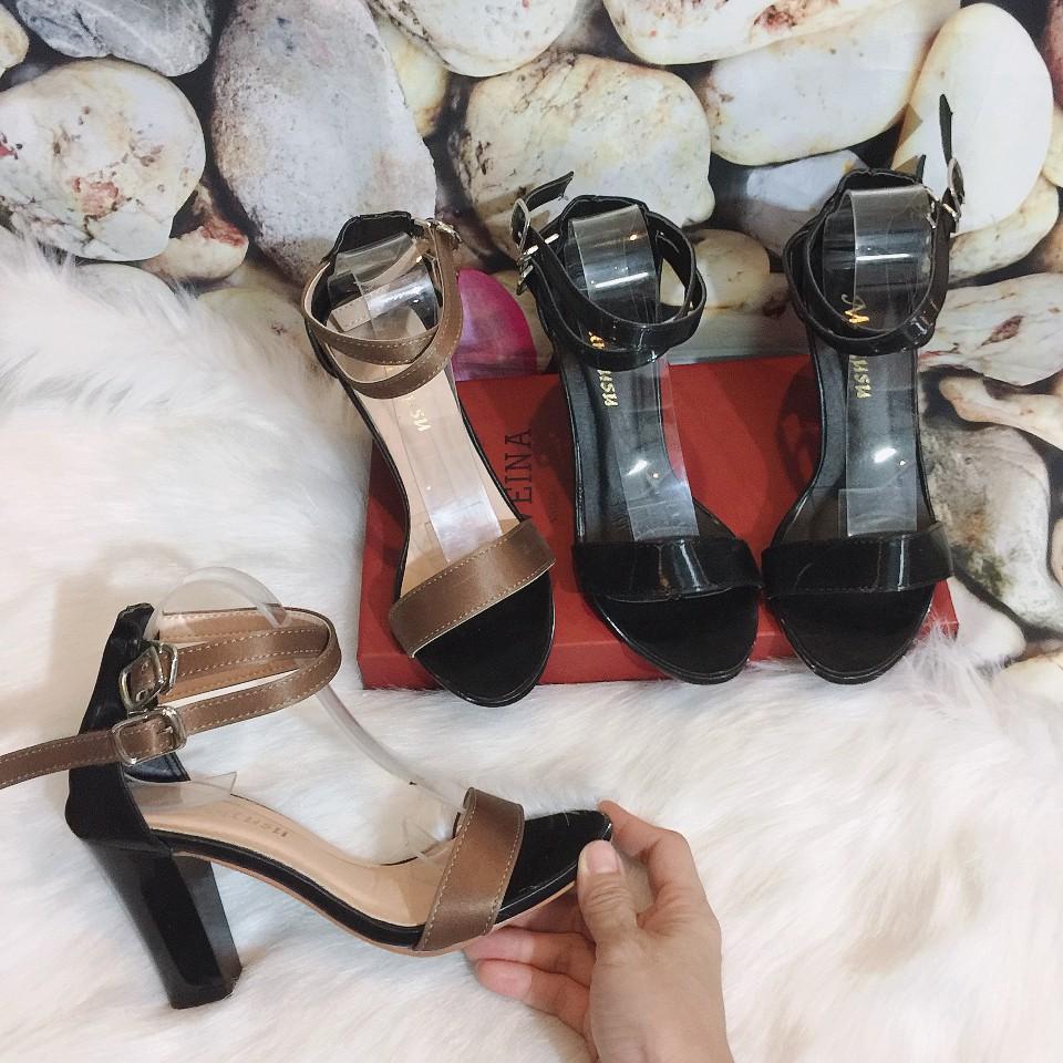 Giày cao gót [XÃ KHO- FREESHIP] quai ngang , chất da mới mềm và mịn, giày sandal