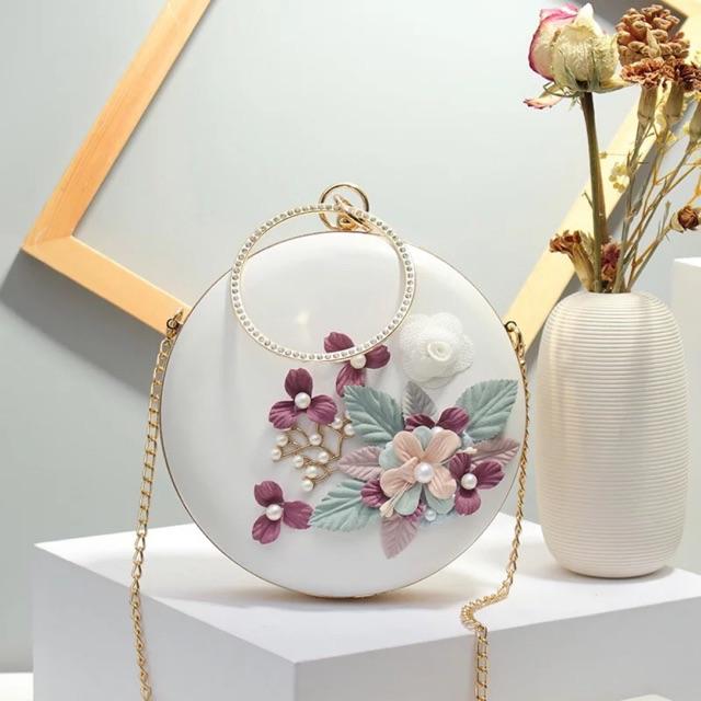 Túi tròn thêu hoa (đeo chéo, cầm tay)