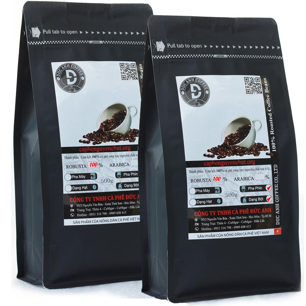 1kg Cà Phê Rang Mộc DUC ANH COFFEE  thành phần 100% Robusta Buôn Ma Thuột - 2 gói zipper 500gr dạng bột dùng pha phin