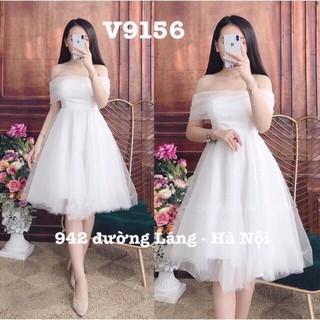 Đầm trắng dự tiệc bẹt vai chất lưới đính ngọc cao cấp freesize