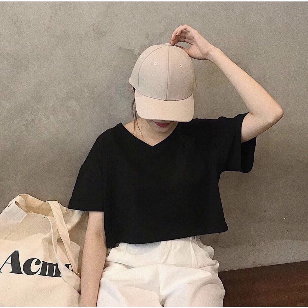 Mặc gì đẹp: Gợi cảm với Áo croptop nữ cổ tim tay ngắn form rộng Madela 100% cotton, Croptop cổ chữ V dáng buông, Áo crt nữ phong cách Hàn Quốc