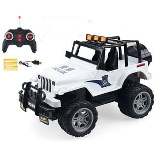 Xe ô tô POLICE điều khiển từ xa vượt mọi địa hình chạy bằng pin sạc loại to- trắng