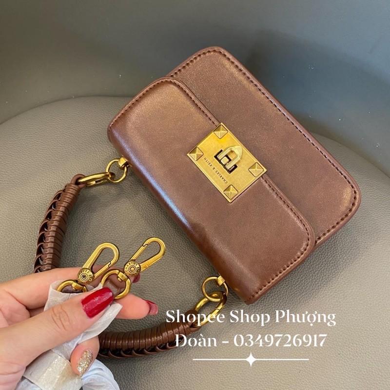 [C.K Quai Đan] Túi da mềm khoá vuông có quai xách size 18cm