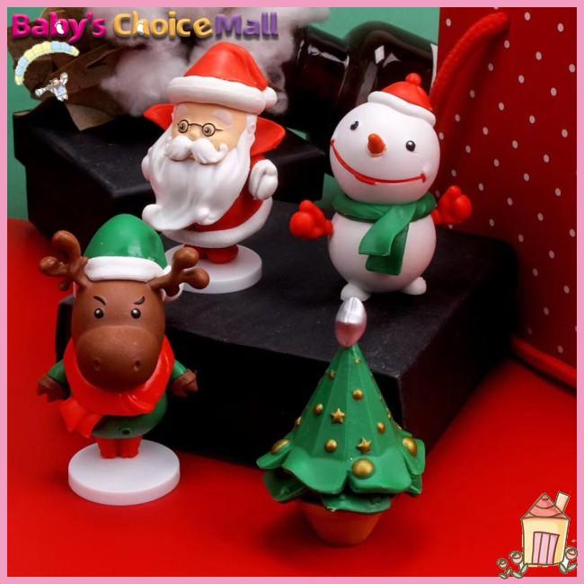 [LIN]4 Pcs/set Christmas Doll Pvc Cute Cartoon Festival Decorations