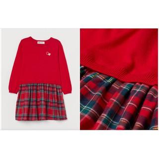 Váy len đỏ caro bé lớn HM H&M sz 4-6y_hàng chính hãng authentic