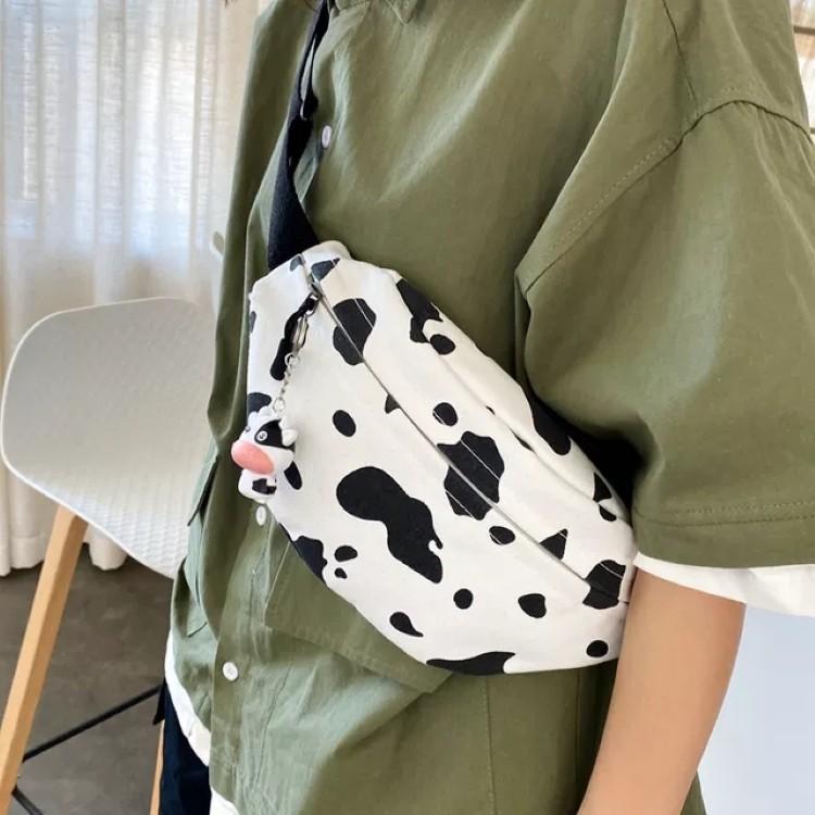 Túi tote bao tử vải canvas cao cấp in họa tiết bò sữa HOT Trend