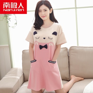 Antarctic Night Sleep Female Summer Cotton Thin Short Sleeve 2021 New Student Large Size Princess Pajamas Dress